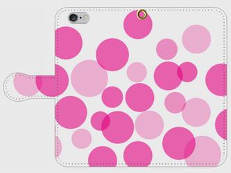 【送料無料】iPhone6/6s手帳型スマホケース 水玉-ピンクの画像