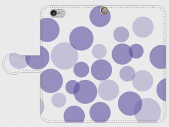 【送料無料】iPhone6/6s手帳型スマホケース 水玉-ラベンダーの画像