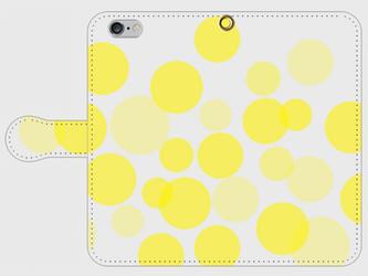 【送料無料】iPhone6/6s手帳型スマホケース 水玉-黄色の画像