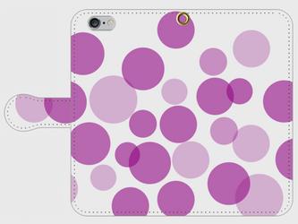【送料無料】iPhone6/6s手帳型スマホケース 水玉-紫の画像