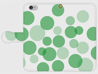【送料無料】iPhone6/6s手帳型スマホケース 水玉-緑の画像