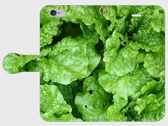 【送料無料】iPhone6/6s手帳型スマホケース レタスの画像