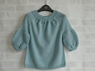 かぎ針編みパフスリーブプルオーバーの画像