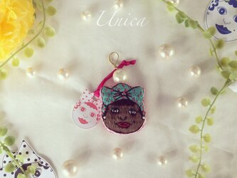Únicaちゃん刺繍パールピアス≪Pierced earrings[Única]P-0001P/W≫の画像