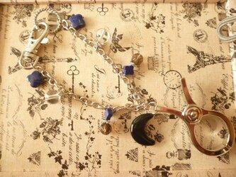 ラピスラズリ&水晶&スモーキークォーツ&オニキス・バックチェーン&グローブホルダーの画像