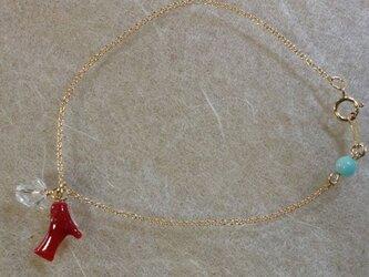 血赤サンゴの枝のブレスレット<水晶・アマゾナイト>の画像