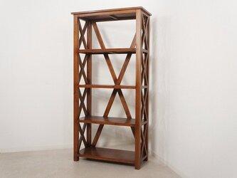 オープン クロス ワイド シェルフ 飾り棚 本棚 マホガニー 無垢の画像