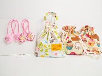 入園入学★巾着3点とヘアゴム4本の可愛いセットの画像