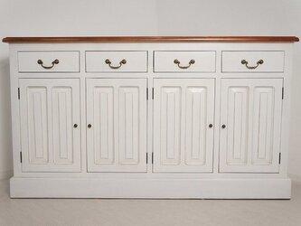 アンティーク調 レジ台 カウンター 店舗什器 収納棚 ホワイトの画像