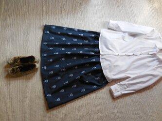 どくろの久留米絣のスカート(アンティークブルー)の画像