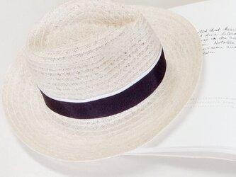linen hat (navy)の画像