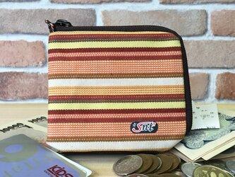 旅行に便利、カード・お札・コイン用 帆布財布 茶系の画像