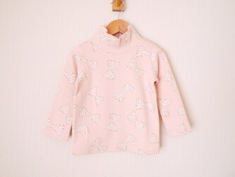 <Y様ご予約品>ピンクのリボン柄のタートルネックカットソー (110cm)の画像