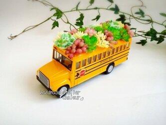 元気の出るスクールバス!ミニカーフェイク多肉植物の画像