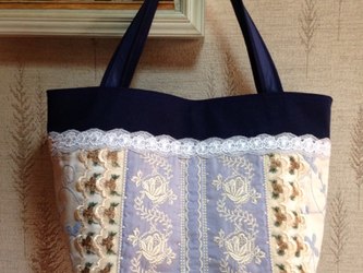 PJC薔薇刺繍 帆布 パッチワークトートバッグの画像