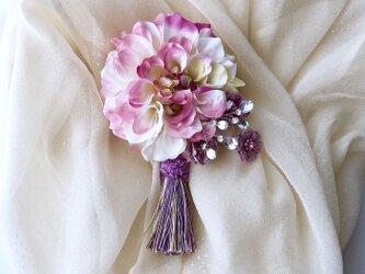 ダリアのコサージュ&ヘアーアクセサリー*薄ピンクの画像