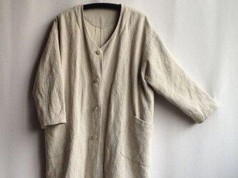 『カーディガンにもコートにも』という名のジャケット サンドベージュ・絹×麻の画像
