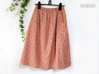 L ポケット付きギャザースカート 花柄 サーモンピンク 【受注】の画像