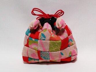 古布のパッチワーク巾着袋の画像