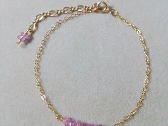宝石質ピンクサファイアブレスレットの画像
