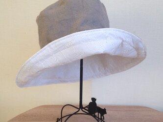 受注製作 グランジリネン&コットンレース 54から65cm キャプリーヌ 帽子の画像