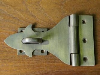 アンティーク調 真鍮製 ブラス 掛金 蝶番 ヒンジ式 ロック 金具の画像