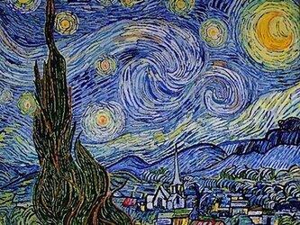【展示品】刺繍絵画:ゴッホの星月夜の画像