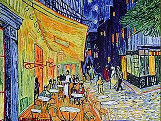 【展示品】刺繍絵画:ゴッホの夜のカフェテラスの画像