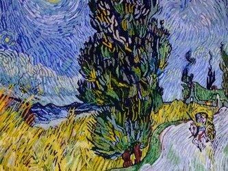 【展示品】刺繍絵画:ゴッホの糸杉と星の見える道の画像