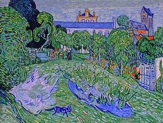 【展示品】刺繍絵画:ゴッホのドービニーの庭の画像
