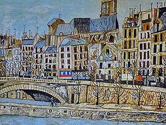 【展示品】刺繍絵画:ユトリロのパリのサンジェルヴェ教会の画像