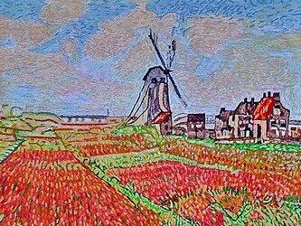 【展示品】刺繍絵画:モネのチューリップ畑の画像