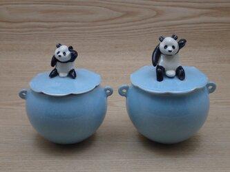 *ろん様ご検討品ー水青招福大熊猫耳付飴小壺の画像