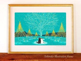 たびねこイラストフレーム-20 クリスマス・イルミネーションの画像