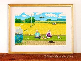 たびねこイラストフレーム-21 稲刈りの昼休みの画像
