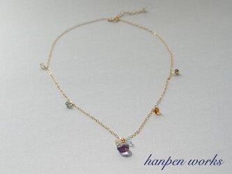 【SALE】 14kgf 宝石質 ピンク(ローズ) アメジスト マルチカラーストーン ネックレスの画像