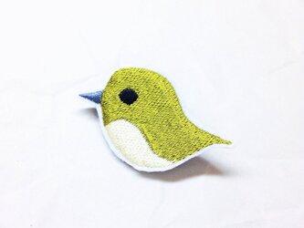刺繍ブローチ 「うぐいす」の画像