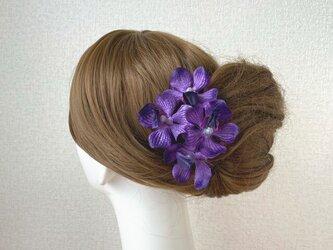 紫の蘭のUピン(PA S:4本セット)髪飾り 浴衣 髪飾り パープル モカラ ラン 蘭 の画像
