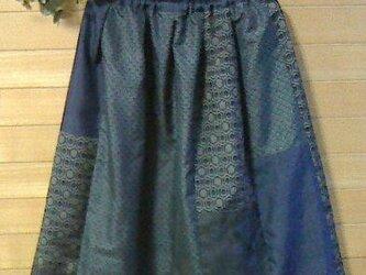 大島紬 藍色パッチスカートの画像
