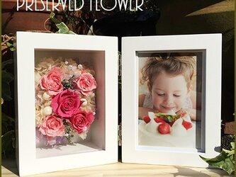 写真立て 木製フォトフレーム プリザーブドフラワー 結婚祝い 誕生日 花 ギフト プレゼント ピンクの画像