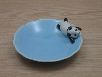 水青爆睡大熊猫輪花小皿−Hの画像