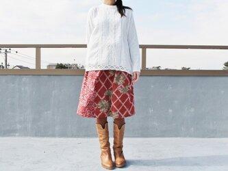 着物リメイク・銘仙の毎日スカート・パッチワーク(赤・L)の画像
