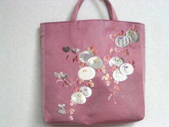 刺繍アンティーク帯 リメイクバッグ 中袋も絹の八掛 送料無料の画像
