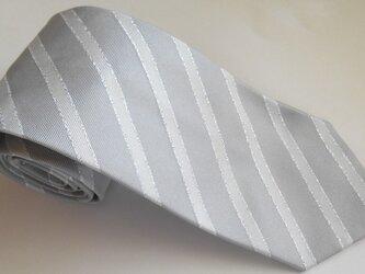 ネクタイ ラインピンドット ストライプ シルバーの画像