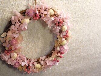 春をお家に♡ピンクのあじさいリース♪の画像