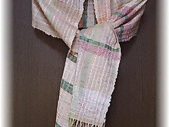 売り切れ・M-9裂き織り、ピンク系の優しいマフラーの画像