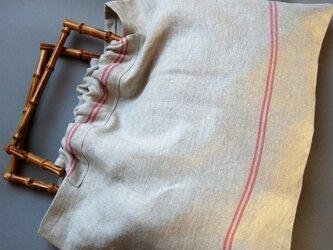 竹のハンドルのリネンのバッグ(裏地と内ポケット付き)の画像