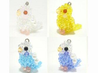 セキセイインコ シリーズ☆2 ビーズの小鳥3WAYストラップ(ストラップ・イヤホンジャック・ファスナーチャーム)の画像