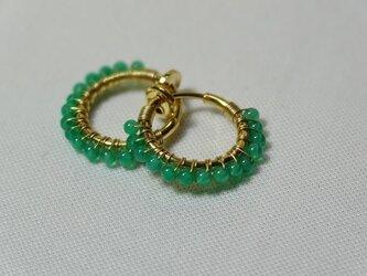 【再再販】グリーンオニキスのプチフープイヤリングの画像
