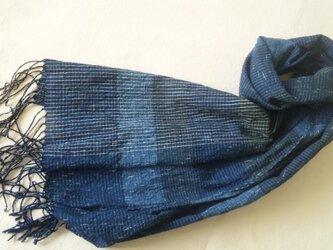 【sale】残り糸をつかった藍の手織りストール の画像